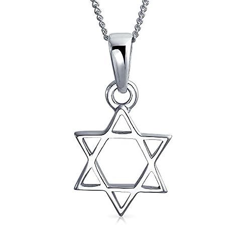 Bling Jewelry Étoile de David pendentif collier en Argent Sterling