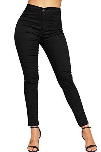 WEARALL Femmes Plaine Toile Maigre Étendue Jambe Fit Pantalon Dames Coton Jeans - Pantalon - Femmes - Tailles 34-44 Noir
