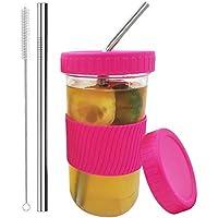 Kongxin Mason Can Drink Cup, Dispensador de Bebidas Mason de 86 mm, Tazas de Tarro de masón Reutilizables ambientales de 22 onzas para té Boba, té de Burbujas, Batidos