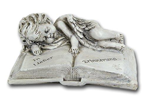 Bambelaa! Grabschmuck Deko Trauerartikel Grab-Engel auf Buch Grau Steinharz Friedhof Ca. 16 x 12 x 7 cm Wetterfest