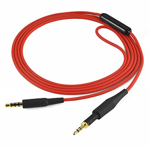AKG K430K450K451K452Q460K480, JBL J55J55A j55i J88J88A j88i Kopfhörer Ersatz Kabel/Audio Kordel mit Mikrofon und Lautstärkeregler, funktioniert mit Apple, Android, Windows Phone (rot, 4ft)