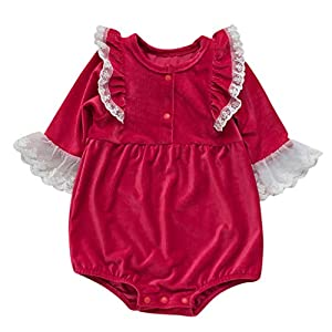JYC/2020-New Toddler Kids Baby Girls Soiod Lace Long Sleeve Romper Bodysuit Clothes (0-24Months) Red   7
