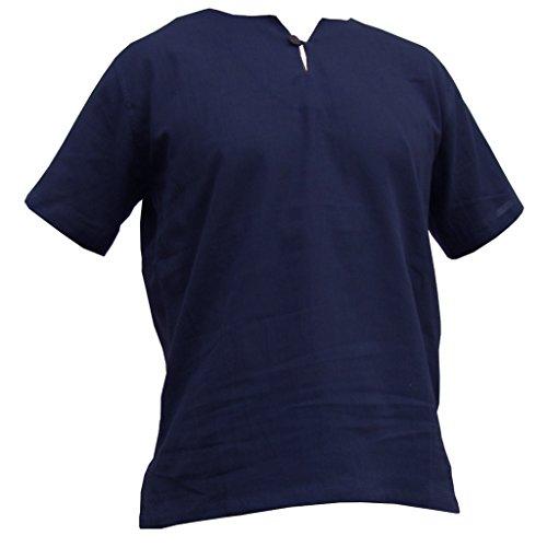 PANASIAM Sommerhemd, K', mit Knopf, blue, L, kurzarm (Casual Leinen-anzug)