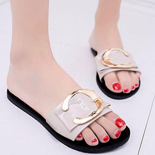 Webla Damen Sandalen Schuhe Womens Slip On Mules Slipper Strap Sandalen Flache Flip Flop Sommer Schuhe Flats Thong Sandalen Beige