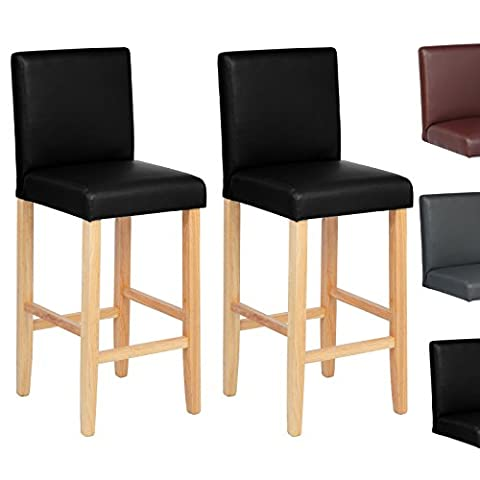 Woltu BH67sz-2 2 x Faux Leather Bar Stools Black Wood Bar Stools/Chairs with High Backs and Luxury Padded