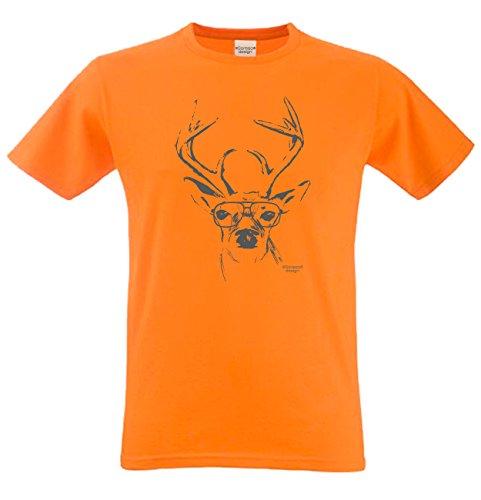 Witziges-Herren-Sprüche-Fun-T-Shirt cooles Volksfest Oktoberfest Party Outfit Motiv Hirsch mit Brille auch in Übergrößen Farbe: orange Orange