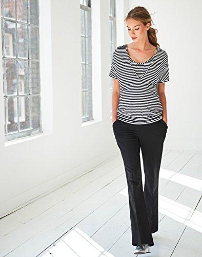 Queen Mum Damen Stretchhose Umstands-Hose Schwangerschafts-Hose stützender Unterbauchbund ausgestelltes Bein Bügelfalte locker leger elegant weit schwarz Black (900)
