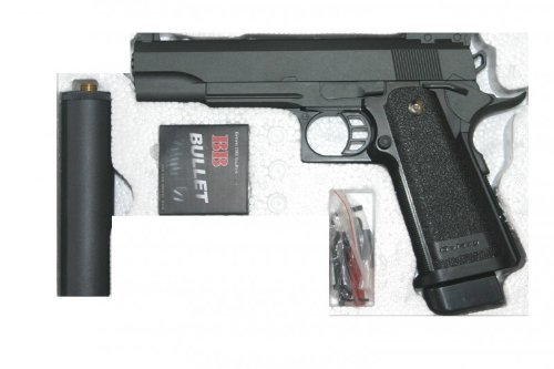 Softair Pistole Vollmetall G.6A 0,5 Joule 6mm mit Schalldämpfer