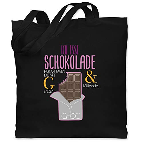 Statement Shirts - Ich esse Schokolade nur an Tagen die mit G enden - Unisize - Schwarz - WM101 - Stoffbeutel aus Baumwolle Jutebeutel lange Henkel