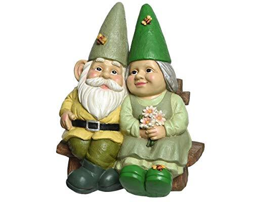 Cute Gnome Couple Sat On Bench Garden Ornament