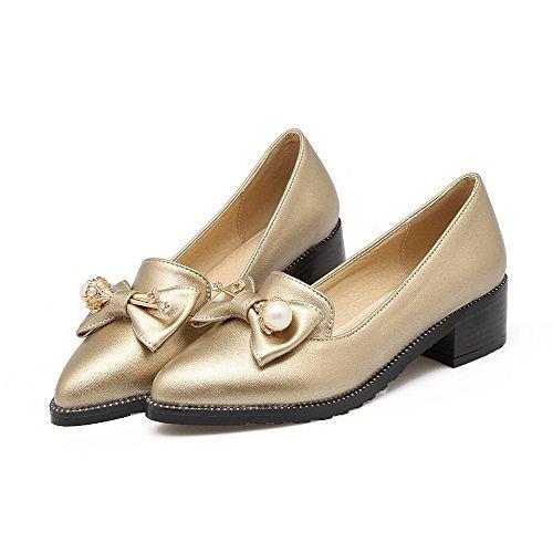 VogueZone009 Damen Ziehen Auf Pu Leder Spitz Zehe Mittler Absatz Rein Pumps Schuhe Golden