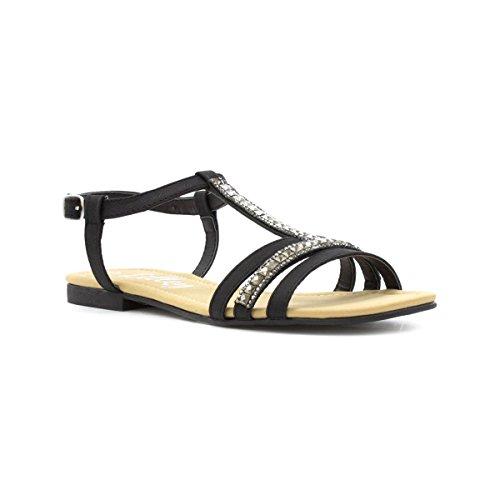 e43e3cbad1b5 Lilley Womens Black Diamante T-Bar Flat Sandal - Size 7 UK -.