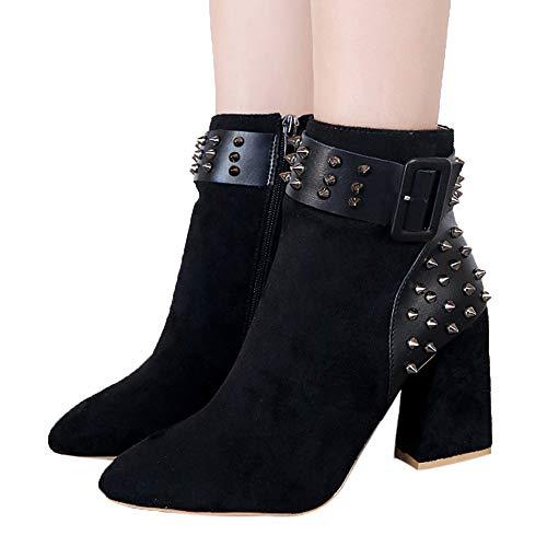 OSYARD Onlineshop Damenmode,Kurze Stiefel Damen Wildleder Warm Winter Flandell, Mode Martin Stiefel Frauen Nieten Plateauschuhe Party Stiefeletten High Heels Boots (230/37, Schwarz)