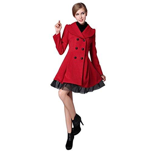 ZahuihuiM Damen Mode Winter Warm Flare Zweireiher Spitze Patchwork Langarm Umlegekragen Slim Trench Jacke Outwear Peacoat (XL, Rot) (Fell Reverskragen-mantel)