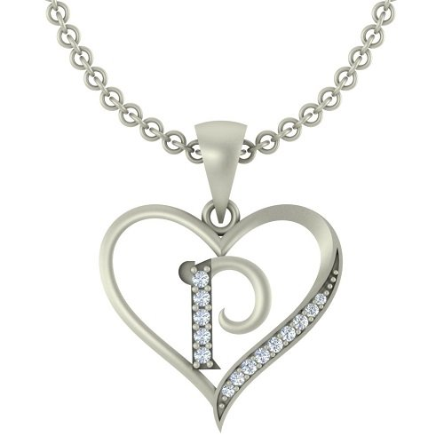 "Kanak Jewels Initial Letter ""P"" In Heart Shaped With Chain Silver Plated Cubic Zirconia Brass Pendant For Everyone"