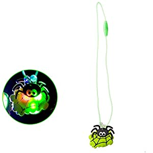 Carnival 08235-Collar con Araña Halloween/Luces, goma, de sobre con puente, batería incluida