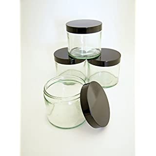 Pack of 4 x Clear Glass Jar with Black Lid, 250ml.