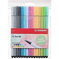 Feutre dessin - STABILO Pen 68 - Pochette 15 feutres pointe moyenne - Couleurs pastel
