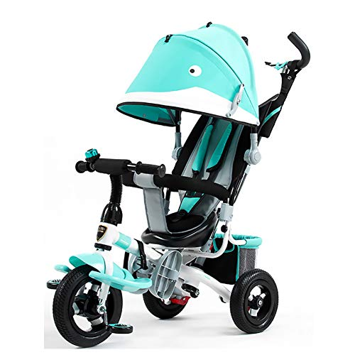 GSDZSY - Children Tricycle Baby Stroller 3 Wheel Bike 4 In 1 With Removable Push Handle Bar And Awning, Rubber Wheel (non-inflated), Cartoon Shape,1-6 Years,Green  GSDZSY