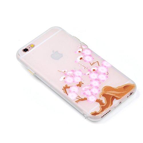 Custodia iPhone 6/6S AllDo Custodia in Silicone Luminoso Bagliore nel Buio Cover di Gomma Trasparente Custodia Liscio Leggero Case Disegno di Modello Stampato Custodia Morbida Flessibile con Bottoni L Fiori di Ciliegio