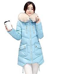 Griffin- Winter Collar del espesamiento encapuchado Pelo grande en el abrigo de la sección delgada larga del ocio femenino de algodón Ropa (seis colores, cinco tamaños para elegir) ( Color : Azul , Tamaño : XXL )