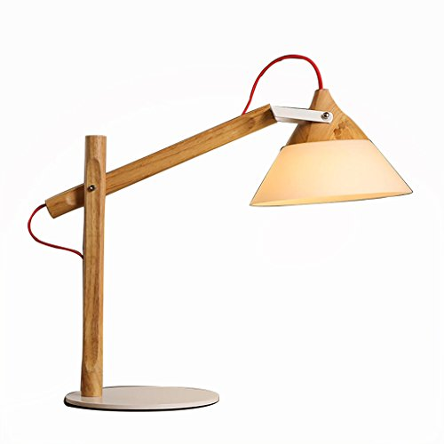 uus Lampe de table en bois massif verre fer forgé LED chambre lampe de chevet E27 ampoule base 27 * 53cm lumière chaude (économie d'énergie A +) (Couleur : Warm light27*53cm)