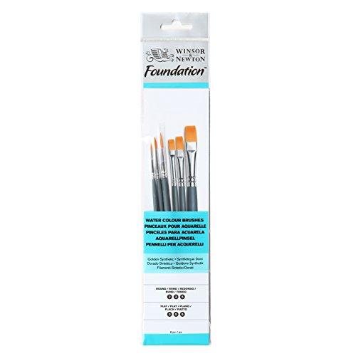 Winsor&newton - foundation 6 pennelli acquarello - round 2, 3 , 5 - flat 3,5,6