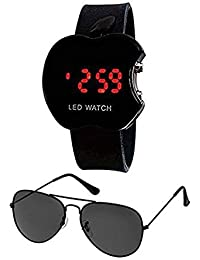 Sheomy B01lwweezv Unisex Combo Pack Of UV Protected Sport Unisex Sunglasses And LED Digital Black Dial Apple Shape...