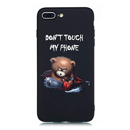 CUagain Kompatibel mit iPhone 8 Plus/iPhone 7 Plus Hülle Silikon Schwarz Muster iPhone 8 Plus Hüllen Handyhülle Ultra Dünn Gummi Kreativ Cover Bumper Kratzfest Case Mädchen Damen,Don't Touch My Phone Gummi-touch