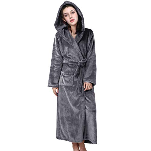 Suroomy Damen Bademantel mit Kapuze, aus Plüsch, Mikrofaser, Spa-Bademantel, Nachtwäsche, Dessous Sleep & Lounge - - Large Hooded Slant Pocket