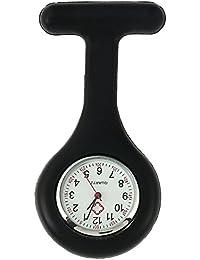 TRIXES Silicone Nurse Watch with Brooch Pocket Clock–Black