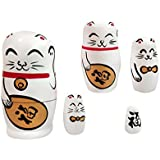MagiDeal 5PCS Handmade Fortune Cat Wooden Stacking Nesting Dolls Set Russian Matryoshka Babushka Novelty Gag Toys Kids Christmas Gift Home Office Decor