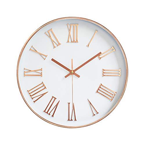"""Jeteven 12"""" Modern Wanduhr Rosegold ohne Tickgeräusche Runde Uhr Große Quarz-Wanduhr für Wohnzimmer Schlafzimmer Kinderzimmer, Küche, Büro, usw. (Römische Ziffern)"""