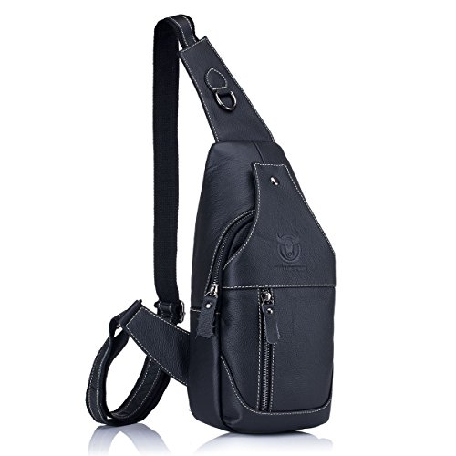 Men's Genuine Leather Sling Bags,ADOGO Chest Shoulder Messenger Bag Business Casual Crossbody Bag schwarz