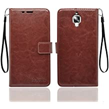 Bracevor OnePlus 3 / One plus 3T AUTO SLEEP WAKE Flip Cover Case | Premium Leather | inner TPU | Foldable Stand | Wallet Card Slots - Executive Brown