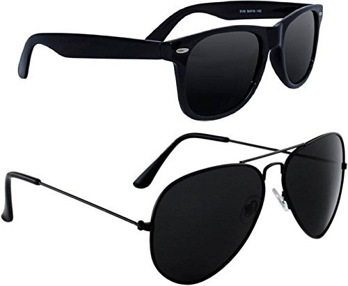 Deixels UV Protected Aviator & Wayfarer Sunglasses For Unisex (Combo - Black)