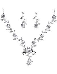 d991de9aff48 Scrox 2pcs Boda Juego de Joyas Mujeres Moda Simple Elegante Novia Joyería  Conjunto Flor Rhinestone Temperamento Collar Pulsera…