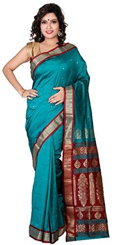 Aruna Fashions Self Design Paithani Gatti 3D Art Silk Saree( Dark Cyan color saree with Dark Cyan color blouse piece)  available at amazon for Rs.999