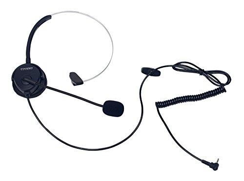 Coodio Teléfono fijo inalámbrico DECT Auriculares [Manos libres] 2,5mm Monaural Auricular con Micrófono [Cancelación de Ruido] Headset Para Panasonic Gigaset DECT Teléfono con 2,5mm Jack - Negro