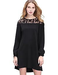 NiSeng Vestidos de Cordón Mangas Largas Mini Vestidos Crewneck Atractivas vestido blusa Color Solido Túnica para