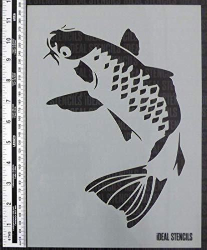 Koi-Karpfen Fisch Schablone Heim Dekor Kunst Handwerk Malerei Schablone für Wände, Stoffe, Möbel Etc. (Koi Fisch-wand-kunst)