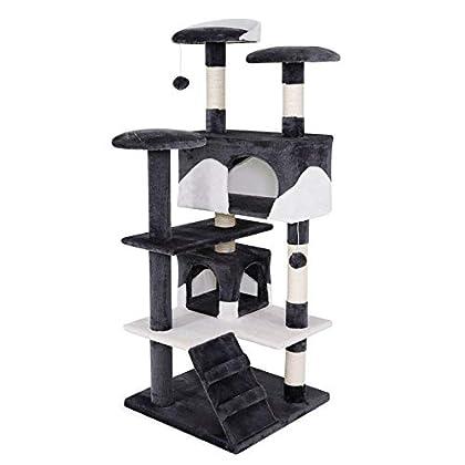 Dibea KB00303 Árbol Rascador para Gatos, Altura 130 Cm, Escalador Grande Color Gris y Blanco