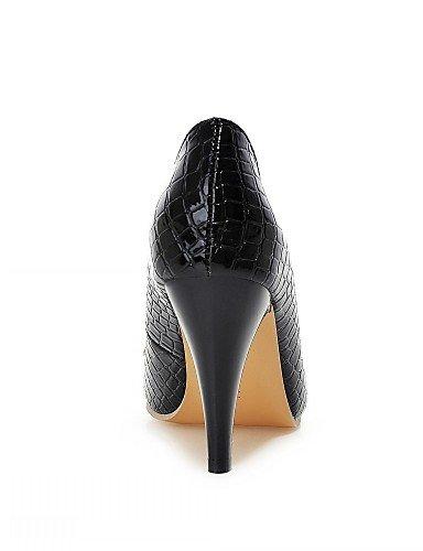 WSS 2016 Chaussures Femme-Bureau & Travail / Habillé / Décontracté-Noir / Blanc-Talon Aiguille-Talons-Talons-Similicuir black-us6 / eu36 / uk4 / cn36