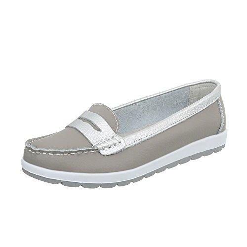 Ital-Design Mokassins Leder Damen-Schuhe Moderne Halbschuhe Grau, Gr 38, 5005-