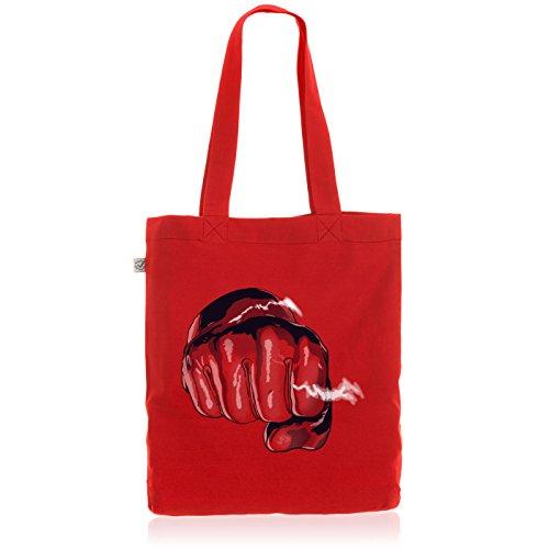 style3 One Punch Biobaumwolle Beutel Jutebeutel Tasche Tote Bag Anime Manga Saitama, Farbe:Rot