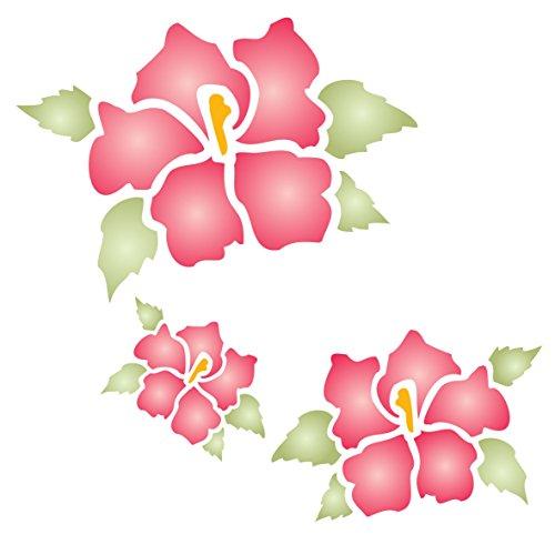 Hibiskus Schablone-wiederverwendbar Groß Fancy Blumen Wandbild Wand Schablone-Vorlage, auf Papier Projekte Scrapbook Tagebuch Wände Böden Stoff Möbel Glas Holz etc, L - Hibiskus-blumen Papier