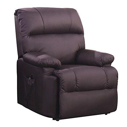 Massagesessel mit Wärmefunktion und elektrischer Aufstehhilfe - Fernsehsessel Relaxsessel Massagestuhl TV-Sessel - Kunstleder Farbwahl (braun)