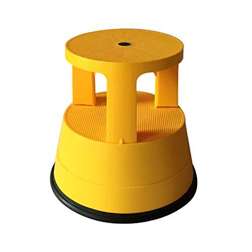 PENGJIE Tritthocker Runder Rollleiter mit 2 Stufen und federbelasteten Rädern Pedalhocker Trittleiter