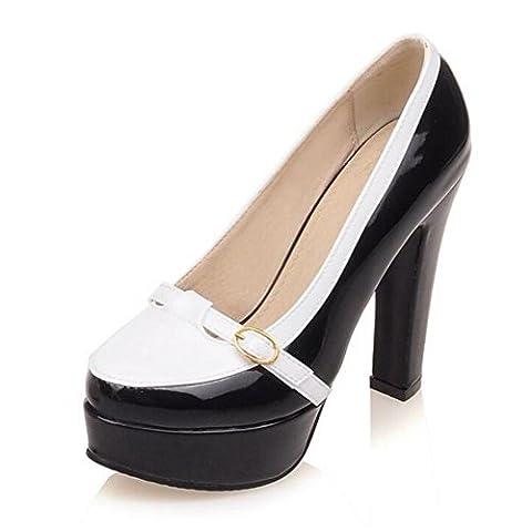 LDMB Chaussures de la Cour des femmes élégant charme couleur boucle de ceinture avec ultra-talon chaussures imperméables plate-forme , white , 37