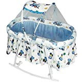 Baby Craddle Cum Rocker 2 In 1 Jhoola With Mosquito Net Canopy 1 NET Bed / 1 Pillow Used Foam Mattress For Baby Comfort (SGOTY-15_Multi)